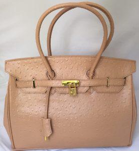 Birkin Style Handbag - Light Tan