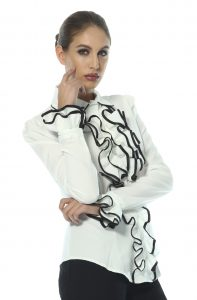 Black & White Ruffle Shirt by Sally Allen