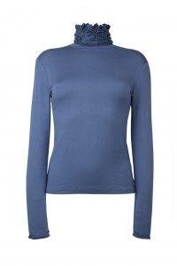 Ruffle Polo Neck Sweater - Blue Denim by Sally Allen