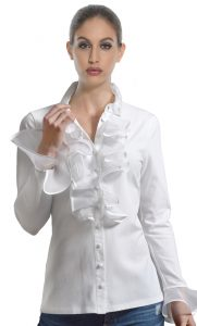 Florette White Ruffle Shirt by Sally Allen