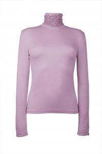 Ruffle Polo Neck Sweater - Lilac