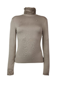 Ruffle Polo Neck Sweater - Mink