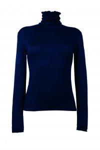 Ruffle Polo Neck Sweater - Navy