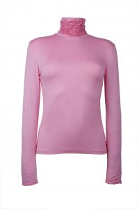 Ruffle Polo Neck Sweater - Pink by Sally Allen
