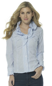 Blue & White Romantic Ruffle Shirt by Sally Allen