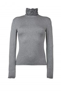 Ruffle Polo Neck Sweater - Silver Grey by Sally Allen
