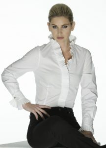 Tina - White with Pleated Collar by Sally Allen