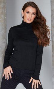 Ruffle Polo Neck Sweater - Black by Sally Allen