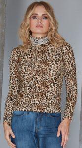 Ruffle Polo Neck Sweater - Animal Print by Sally Allen
