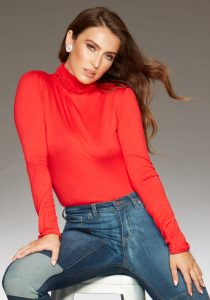 Ruffle Polo Neck Sweater - Red by Sally Allen