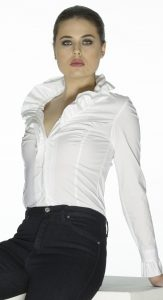 White Romantic Ruffle Shirt by Sally Allen
